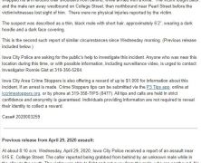 press release from ICPD about recent assaults